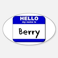 hello my name is berry Oval Decal