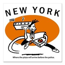 "Pizza before Police Square Car Magnet 3"" x 3"""
