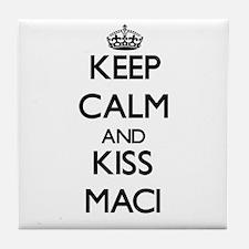Keep Calm and kiss Maci Tile Coaster