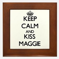 Keep Calm and kiss Maggie Framed Tile