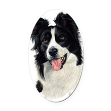Border Collie Head Oval Car Magnet