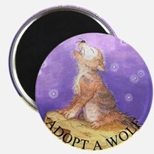 Adopt a wolf and wolf howling Magnet