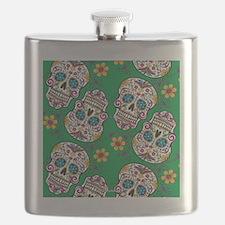 SugarSkull Halloween Green Flask