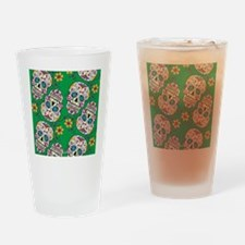 SugarSkull Halloween Green Drinking Glass