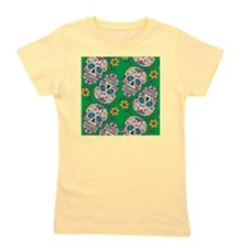 SugarSkull Halloween Green Girl's Tee