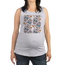 SugarSkull Halloween White Maternity Tank Top