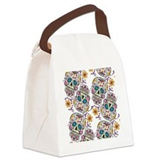 SugarSkull Halloween White Canvas Lunch Bag