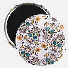 SugarSkull Halloween White Magnet