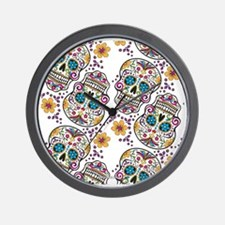 SugarSkull Halloween White Wall Clock