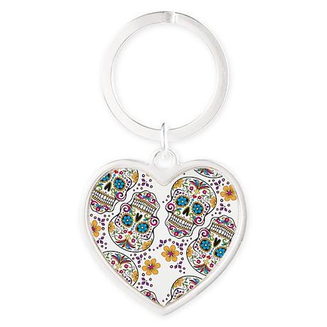 SugarSkull Halloween White Heart Keychain