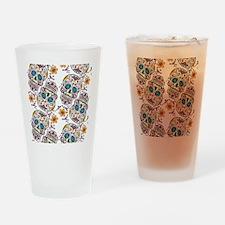 SugarSkull Halloween White Drinking Glass