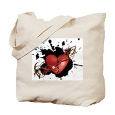 Red Broken Grunge Heart with Safety Pin Tote Bag