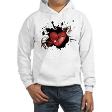 Red Broken Grunge Heart with Safety Pin Hoodie