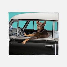 Doberman Pinscher in Classic Car Throw Blanket