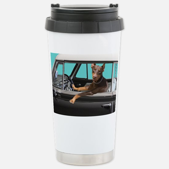 Doberman Pinscher in Cl Stainless Steel Travel Mug
