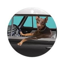 Doberman Pinscher in Classic Car Round Ornament