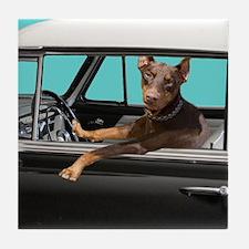 Doberman Pinscher in Classic Car Tile Coaster