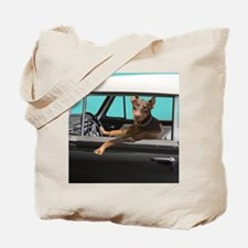 Doberman Pinscher in Classic Car Tote Bag
