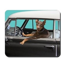 Doberman Pinscher in Classic Car Mousepad
