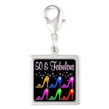 50TH SHOE GIRL Silver Square Charm