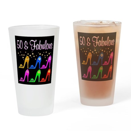 50TH SHOE GIRL Drinking Glass