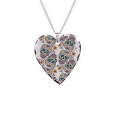 Day of The Dead Sugar Skull,  Necklace Heart Charm