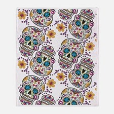 Day of The Dead Sugar Skull, Hallowe Throw Blanket