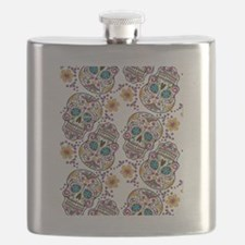 Day of The Dead Sugar Skull, Halloween Flask