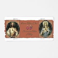 2 Sacred Hearts Aluminum License Plate
