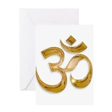 Gold Om Greeting Cards