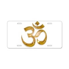 Gold Om Aluminum License Plate