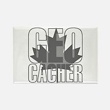Gray Leaf Geocacher Rectangle Magnet