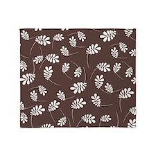 Modern White Leaf on Brown Throw Blanket