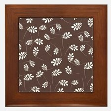 Modern White Leaf on Brown Framed Tile
