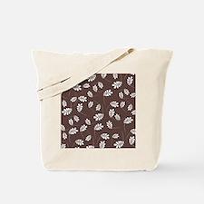 Modern White Leaf on Brown Tote Bag