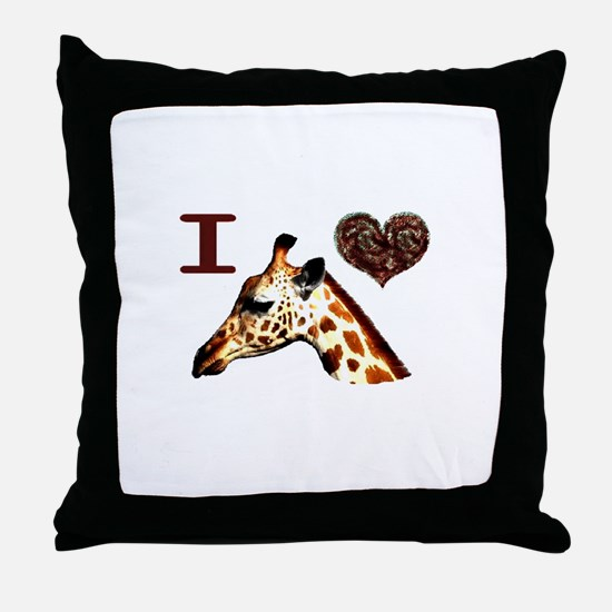 I Love ( Heart ) Giraffes  Throw Pillow
