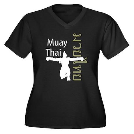 Muay Thai Women's Plus Size V-Neck Dark T-Shirt