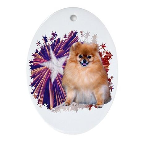 Pom Star Oval Ornament