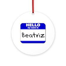 hello my name is beatriz  Ornament (Round)