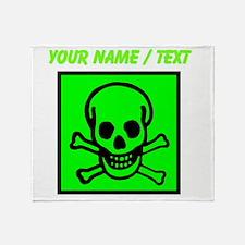 Custom Green Skull Sign Throw Blanket