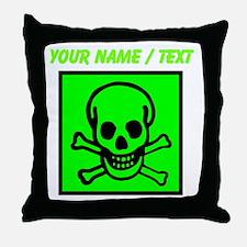 Custom Green Skull Sign Throw Pillow