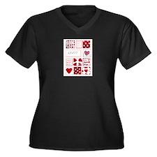 Love to Quilt Women's Plus Size V-Neck Dark T-Shir