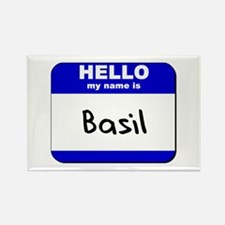 hello my name is basil Rectangle Magnet