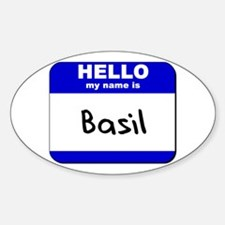 hello my name is basil Oval Decal