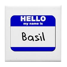 hello my name is basil  Tile Coaster
