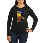 Cafe & Black Lab Women's Long Sleeve Dark T-Shirt