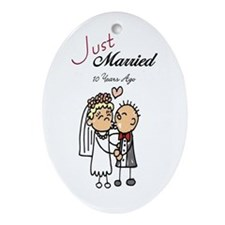 Just Married 10 years ago Oval Ornament