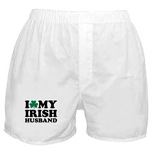 I love my irish husband shamrock Boxer Shorts