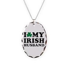 I love my irish husband shamrock Necklace Oval Cha