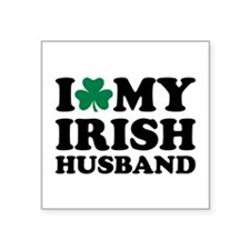 "I love my irish husband shamrock Square Sticker 3"""